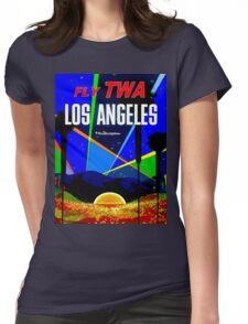 """""""TWA"""" Fly to Los Angeles Travel Print Womens Fitted T-Shirt"""