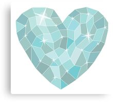 Frozen heart in Abstract triangles - polygons style Canvas Print
