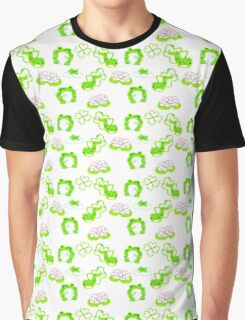 Green Frogs Lily Pads and Tadpoles Pattern Graphic T-Shirt