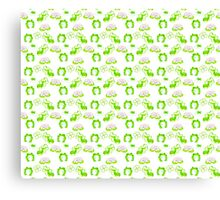 Green Frogs Lily Pads and Tadpoles Pattern Canvas Print