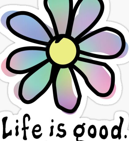 Life is Good Rainbow Flower Sticker
