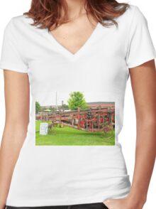Antique Peanut Picker/Hay Baler Women's Fitted V-Neck T-Shirt