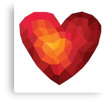 Fiery heart in abstract triangles - polygons style Canvas Print