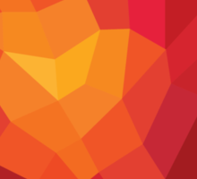 Fiery heart in abstract triangles - polygons style Sticker