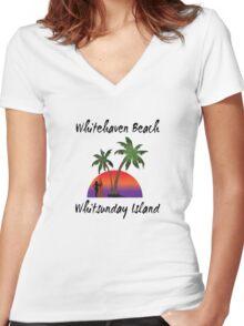 Whitehaven Beach Whitsunday Island Australia Women's Fitted V-Neck T-Shirt