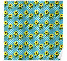 Bright Yellow Sunflowers Blue Polka Dots Summer Pattern Poster