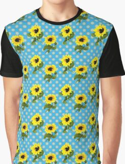 Bright Yellow Sunflowers Blue Polka Dots Summer Pattern Graphic T-Shirt