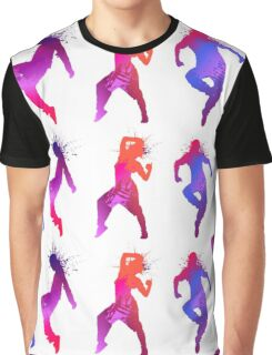 Colourful Jumping And Dancing People Silhouette Graphic T-Shirt