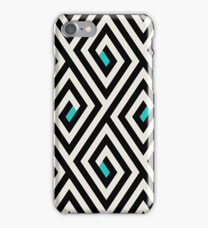 Maze pattern with blue dots iPhone Case/Skin
