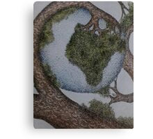 World cradled by Tree Canvas Print