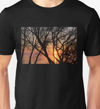 Sunrise Through the Chaos of Tree Branches Unisex T-Shirt