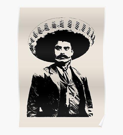 Emiliano Zapata - unichrome black Poster