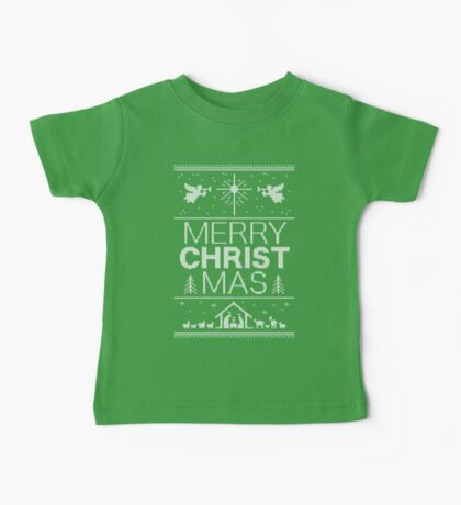 Ugly Christmas Sweater - Green Knit - Merry Christ Mas - Religious Christian - Jesus Baby Tee