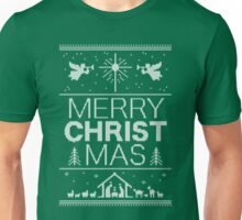 Ugly Christmas Sweater - Green Knit - Merry Christ Mas - Religious Christian - Jesus Unisex T-Shirt