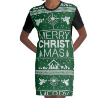 Ugly Christmas Sweater - Green Knit - Merry Christ Mas - Religious Christian - Jesus Graphic T-Shirt Dress