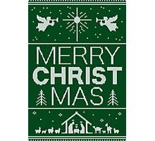 Ugly Christmas Sweater - Green Knit - Merry Christ Mas - Religious Christian - Jesus Photographic Print
