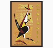 """AUSTRALIA"" Art Deco Kangaroo's Travel Print Baby Tee"
