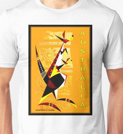 """AUSTRALIA"" Art Deco Kangaroo's Travel Print Unisex T-Shirt"