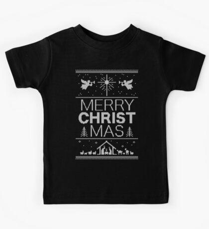 Ugly Christmas Sweater - Black Knit - Merry Christ Mas - Religious Christian - Jesus Kids Tee
