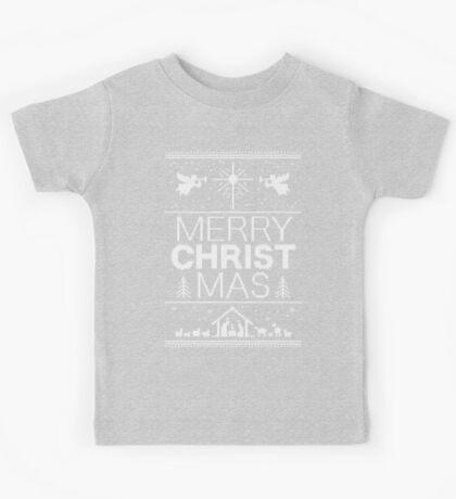 Ugly Christmas Sweater - Gray Knit - Merry Christ Mas - Religious Christian - Jesus Kids Tee