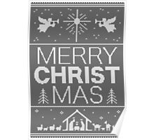 Ugly Christmas Sweater - Gray Knit - Merry Christ Mas - Religious Christian - Jesus Poster