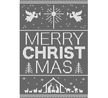Ugly Christmas Sweater - Gray Knit - Merry Christ Mas - Religious Christian - Jesus Photographic Print