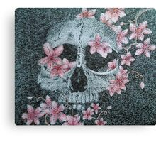 Skull & Cherry Blossoms Canvas Print