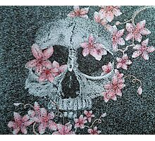 Skull & Cherry Blossoms Photographic Print