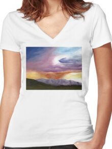 Storm Sky Women's Fitted V-Neck T-Shirt
