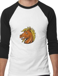 Angry Stallion Head Cartoon Men's Baseball ¾ T-Shirt
