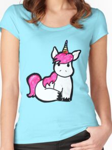 Rainbow Unicorn - Original Illustration Women's Fitted Scoop T-Shirt