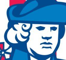 American Patriot Head Bust Shield Retro Sticker