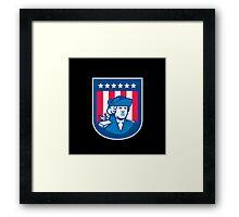 American Patriot Head Bust Shield Retro Framed Print