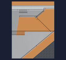 Modernist Orange Staircase One Piece - Short Sleeve