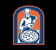 Pizza Maker Holding Pizza Peel Shield Woodcut by patrimonio