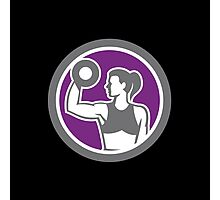Woman Lifting Dumbbell Weight Retro Photographic Print