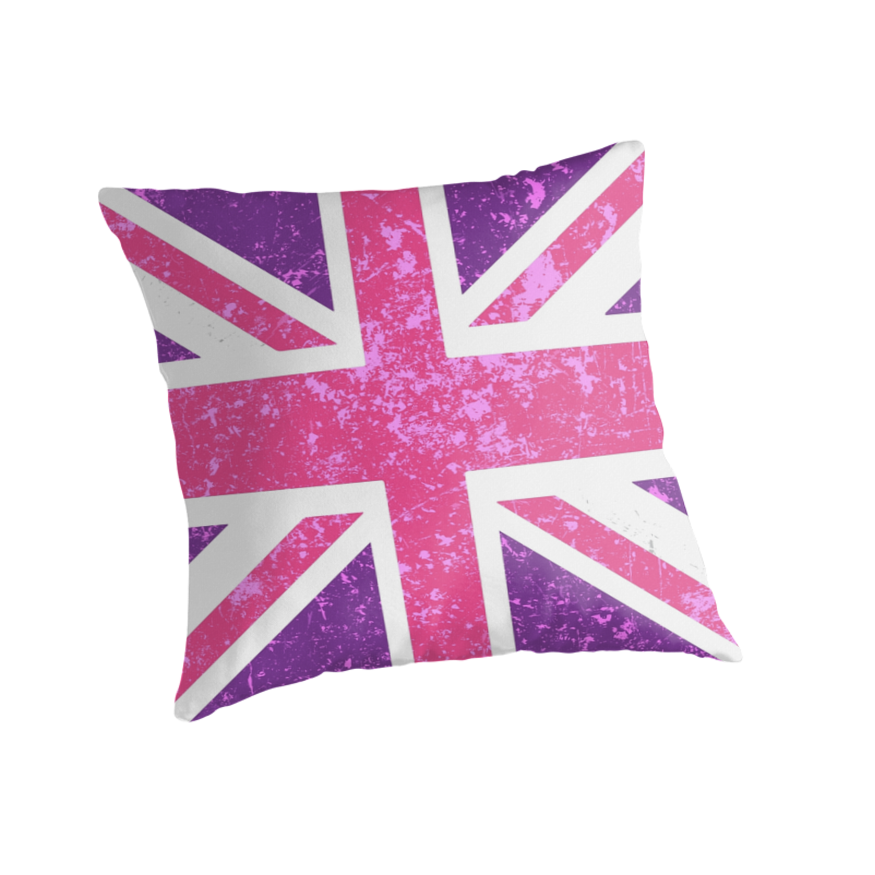 Pink and purple union jack throw pillows by metroevents for Pink union jack bedding
