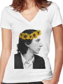 Adam Driver and Sunflower Crown (Color) Women's Fitted V-Neck T-Shirt