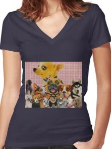 Dogs are Fun Women's Fitted V-Neck T-Shirt