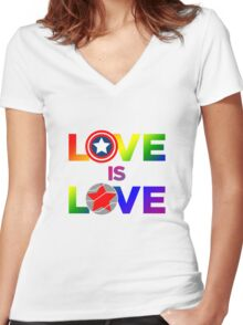 Love is Love - Rainbow & Metal Variant Women's Fitted V-Neck T-Shirt