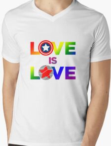 Love is Love - Rainbow & Metal Variant Mens V-Neck T-Shirt