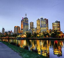Looking Across the Yarra River Towards Melbourne City by Richard Munckton