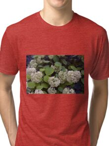 Natural pattern with white flowers and green leaves. Tri-blend T-Shirt