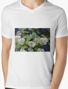 Natural pattern with white flowers and green leaves. Mens V-Neck T-Shirt