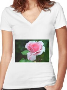 Pink rose on green background. Women's Fitted V-Neck T-Shirt
