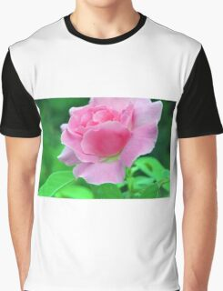 Pink rose on green background. Graphic T-Shirt