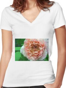 Close up on light pale pink rose petals. Women's Fitted V-Neck T-Shirt
