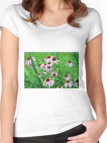 Delicate pink flowers in the grass. Women's Fitted Scoop T-Shirt