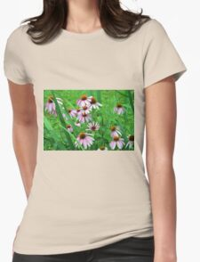 Delicate pink flowers in the grass. Womens Fitted T-Shirt