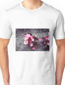 Small pink flowers on dry land. Unisex T-Shirt
